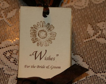 75 Wedding Wish Tree Tags handstamped with Sunflower Flower