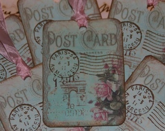 Oh So Sweet PARIS Vintage Post Card Tags French Design