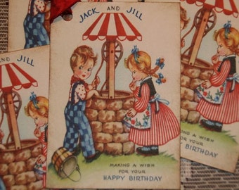 Vintage Jack and Jill Birthday Wishes Tags