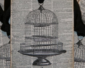 Altered Art Dictionary Page Bird Cage Gift Tags