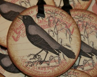 One Dozen Round Tags with Crow