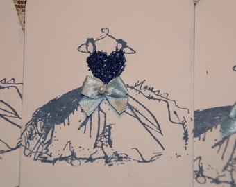Blue Glittered Handstamped Wedding Dress Bridesmaid Shower Gift or Favor Tags