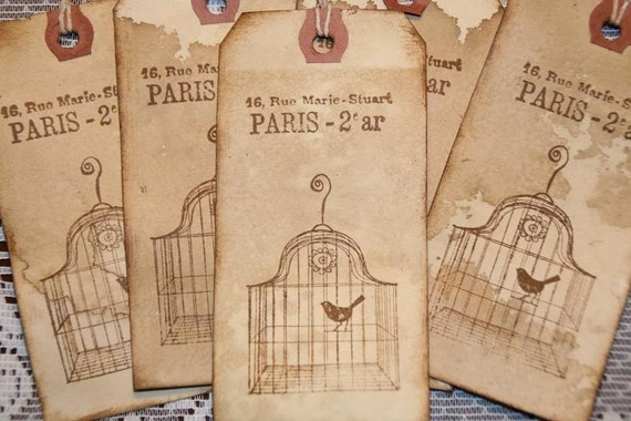 Paris Birdcage Distressed Gift Hang Tags