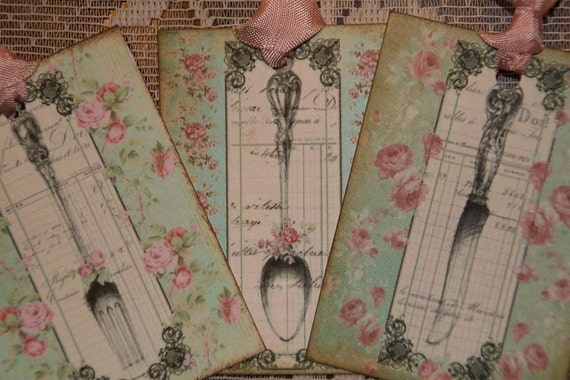 Dinner In Paris Cottage Style Silverware Gift Tags