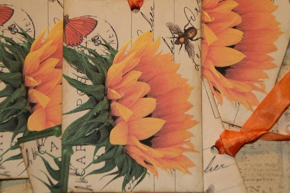 Sunflowers Tags, Sunflower Gift Tags, Fall Tags, Gift Wrap