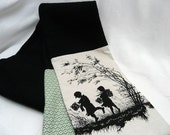 One-off Super Warm Wool and Pretty Silhouette Print Patched Scarf