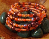 Bracelet, coral and bronze, glass and seed beads, large, memory wire