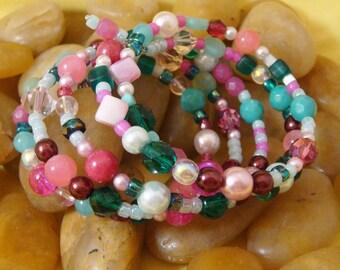 Bracelet, pink and aqua, glass beads, memory wire, regular