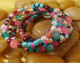 Bracelet, pink and teal, glass beads, memory wire, large