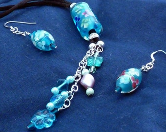 Pendant necklace earrings with aqua floral lampwork bead misc Cz beads and SS chain