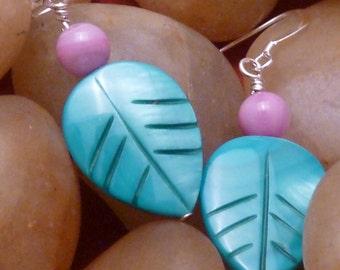 Earrings mother of pearl aqua leaf purple pierced