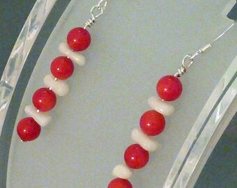 Earrings coral red rounds and white sticks pierced