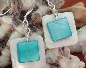 Earrings mother of pearl wte flat sq layered with aqua flat sq pierced