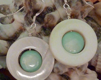 Earrings mother of pearl wte flat donut with mint green puffed coin inside pierced
