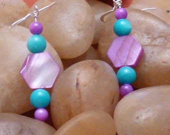 Earrings mother of pearl aqua, purple