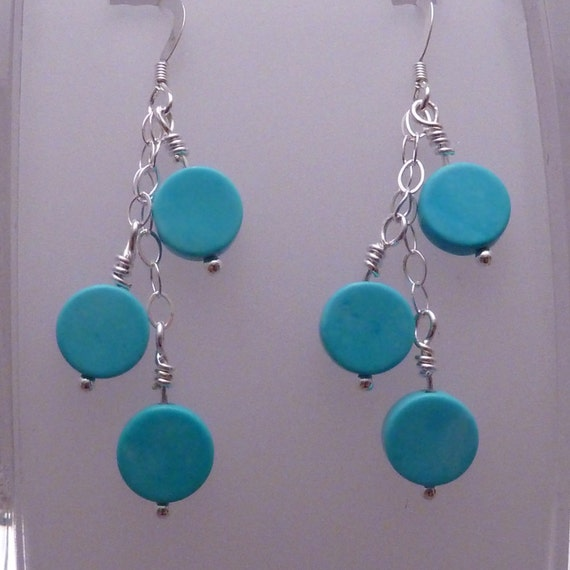 Earrings of turquoise and sterling silver chain