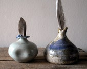 Two Little Blue Vintage Pottery Vases