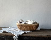 Wicker  Basket with Vintage Cottons