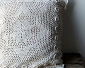 Vintage Crochet Cushion Cover in Cream