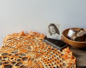 Vintage Tangerine Crochet Table Topper