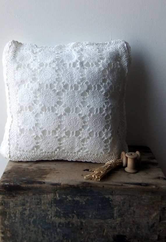 Vintage Crochet Cushion Cover - RESERVED just for JILLIAN
