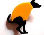Dog pooing-laser cut Acrylic brooch