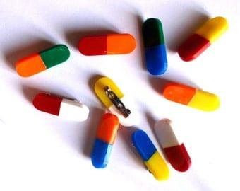 colorful pills-laser cut acrylic brooch