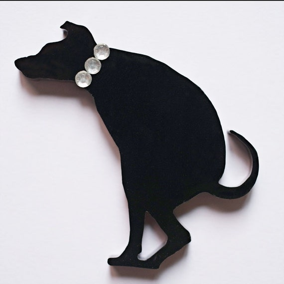 Glamorous Dog Pooing - Laser cut Acrylic Brooch