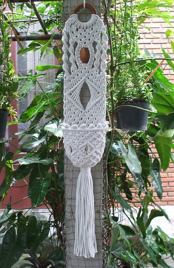 Macrame Wall Plant Holder Spiral