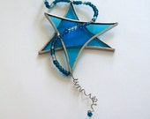 Stained Glass Star Suncatcher With Beaded Stardust Trails