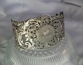 Silver Filigree Cuff Bracelet,  Je T' Aime Charm Bracelet, Silver Cuff Bracelet