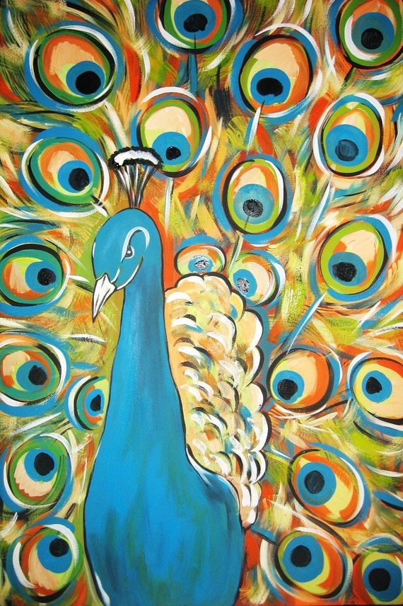 SALE Peacock Original Abstract Acrylic Painting by PeacocksGallery