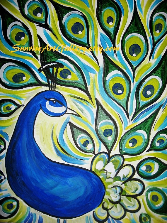 peacock original acrylic painting 16x20 by peacocksgallery