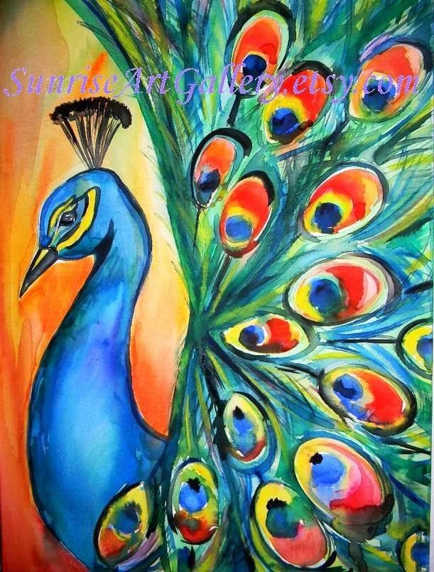 Sale peacock original watercolor painting 18x24