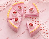 Kawaii Decoden Cabochon Sweets Deco Fancy Pink Sliced Cakes (6pcs) CAS135
