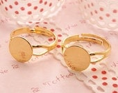 Gold Plated Fancy Adjustable Ring Pad High Quality 10mm - 10pcs