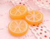 Round Orange Slice Cabochons - 5pcs