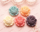 Resin Flowers Medium Size Roses Cabochons Set of 5pcs