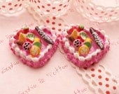 Heart Shaped Pink Fruit Cake Cabochon - 5pcs