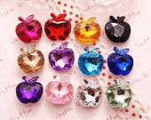 Apple Shaped Faceted Acrylic Rhinestones Gems Pointed Back Set of 50pc (Assorted)