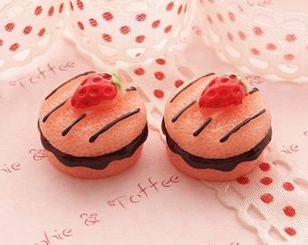 Strawberry Chocolate Fudge Cabochon - 5pcs