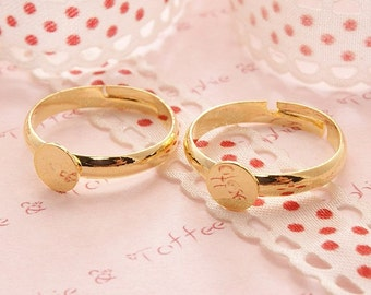 Gold Plated Adjustable Ring Pad High Quality 6mm - 8pcs
