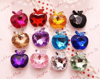 Apple Shaped Faceted Acrylic Rhinestones Gems Pointed Back Set of 50pc (You choose your color)