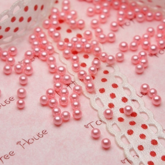3mm Pink Rounded Faux Pearls Set of 100pcs