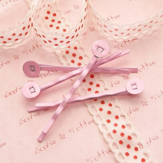 Metal Hair pin with Blank Bail in Pastel Pink Color 5cm - 10pcs