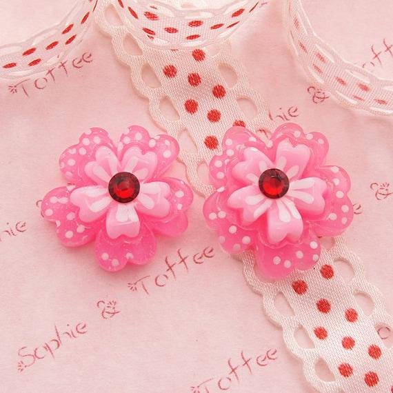 5pcs Sakura Glitter Rhinestone Cabochon