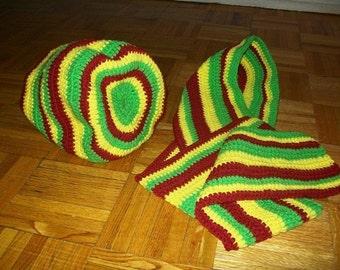 Rasnique, Crochet Loc Rasta Dreadlock Winter Cap and Scarf Set