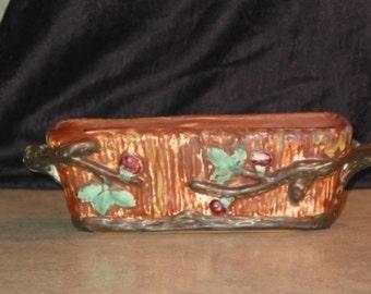 Art Nouveau Weller Art Pottery 1920 Warwick blackberry window box PLANTER with branch handles