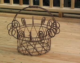 Antique primitive twisted wire large farm BASKET
