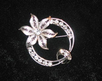 vintage sterling silver Cal Art Brooch lily flower circle on circle rhinestones